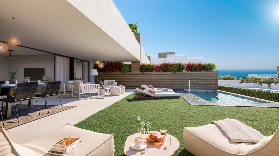 Your new 3 bedroom corner garden apartment with basement as optional guest studio in Marbella, with luxuries of a resort, integrated in an natural environment with Sea Views. Ref. SPA1708